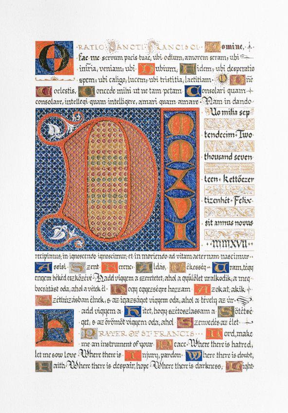 New Year's Message   Assisi Szent Ferenc: Áldás békesség c. imája, az Ormesby Psalter motívumaiból
