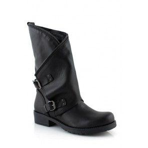 Stivali donna biker boots con cerniera in pelle neri