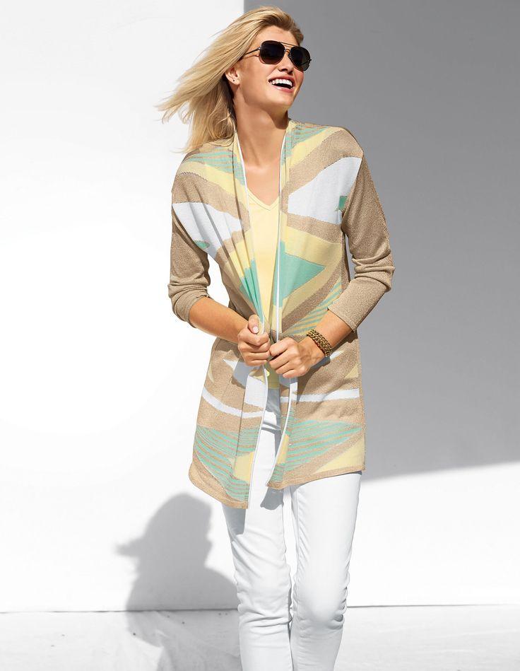 Wertvoller Feinstrick in sommerlicher Farbgebung mit Glanzeffekt setzt ein Stil-Statement.