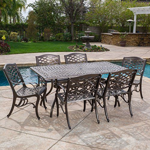 Aluminium Cast Bronze Kitchen Patio Garden Outdoor Furniture Table U0026  6chairs Set #PerfectAllinaceLad