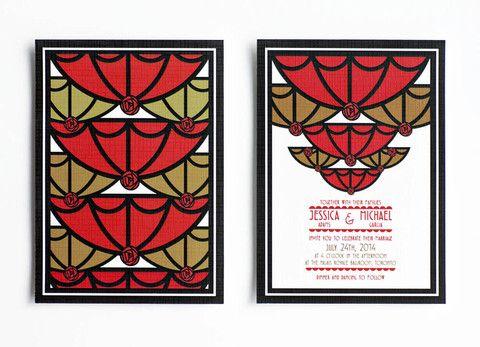 Scarlet Roaring Twenties Wedding Invitation– Jo's Paperie #wedding #invitations #artdeco #template