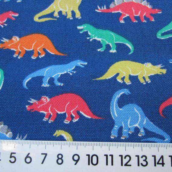 1/2m Cath Kidston Fabric. Cotton Canvas, Duck Cloth. Dinosaurs on Blue. 140cm…