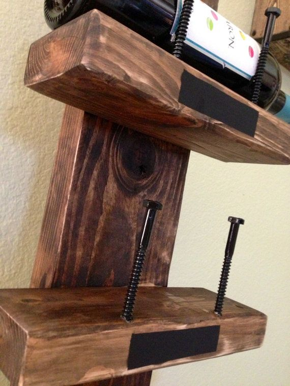 Handmade Wooden Wine Rack holds five by nidify on Etsy
