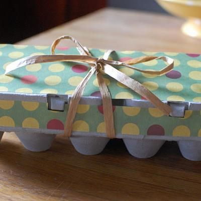 Upcycle your egg cartons into mini cupcake or mini muffin holders!