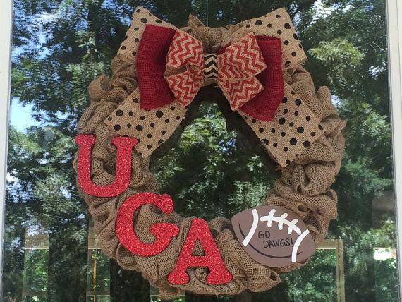 University of Georgia Burlap Wreath - UGA Football wreath - Bulldog Wreath