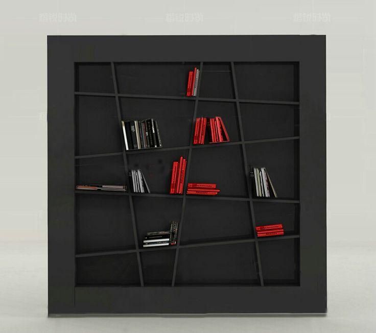 Черный книжный шкаф с необычными полками разной формы в стиле минимализм и модерн, купить в интернет-каталоге мебели https://lafred.ru/catalog/catalog/detail/37908398240/