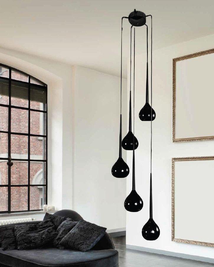 LAMPA wisząca AGA 5 MD1289-5BK Azzardo dekoracyjna OPRAWA szklany ZWIS kaskada czarny