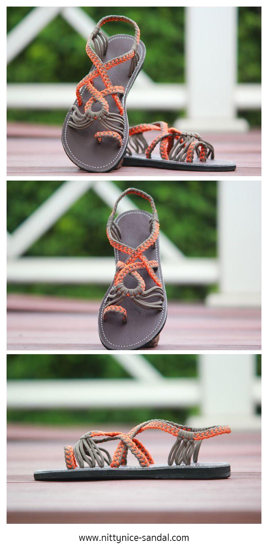 playful paracord sandals in orange and grey sandals for. Black Bedroom Furniture Sets. Home Design Ideas
