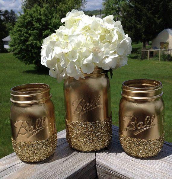 3 Shining shimmering gold Painted mason jars vase vintage centerpiece wedding decor ball kerr rustic wedding Glitter sparkling