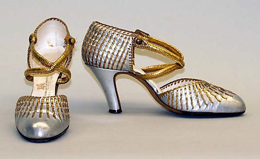 "Evening Shoes: 1925-29, French, leather, wood. [imprint] ""Made in France Dpose"""