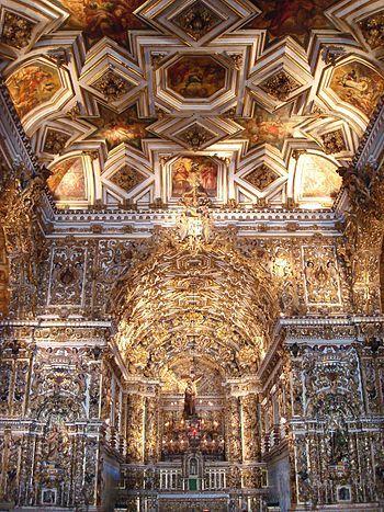 Barroco brasileiro, Detalhe da igreja de São Francisco, em Salvador, Bahia.