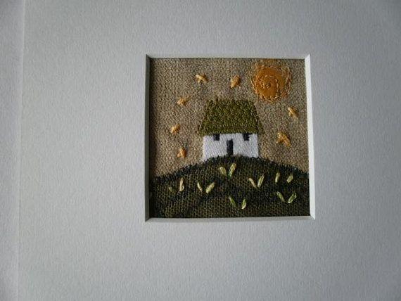 Wee Cottage Textile Art. Golden Moon