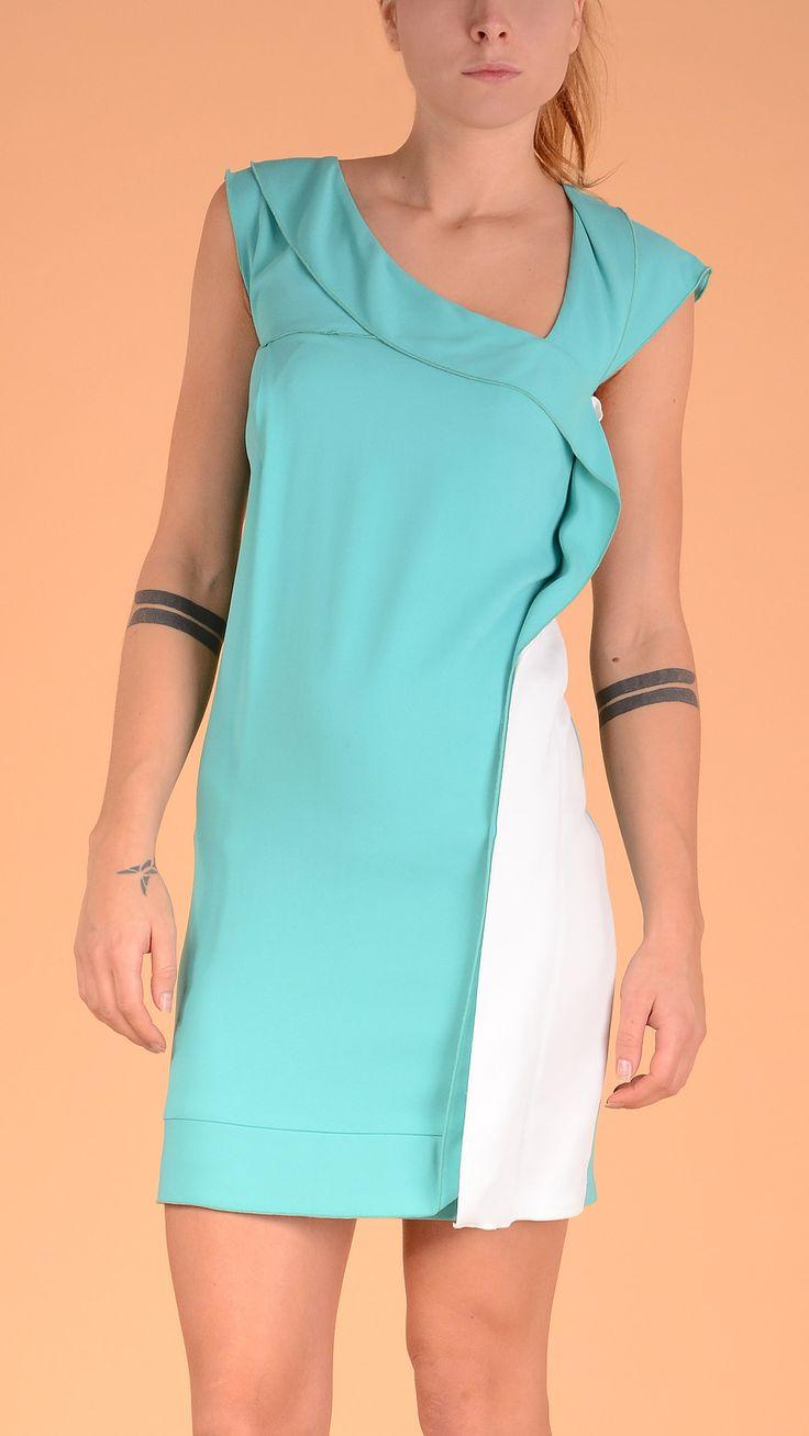 Atos Lombardini Asymmetrical neckline sleeveless dress. Aquamarine!
