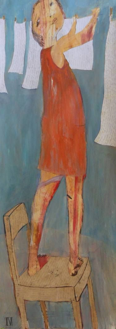 """Laundry Line by Ilya Volykhine; 2013; oil, charcoal, collage and paper on paper; 47.2 H x 19.7 W x 3.9""""    Saatchi Art"""