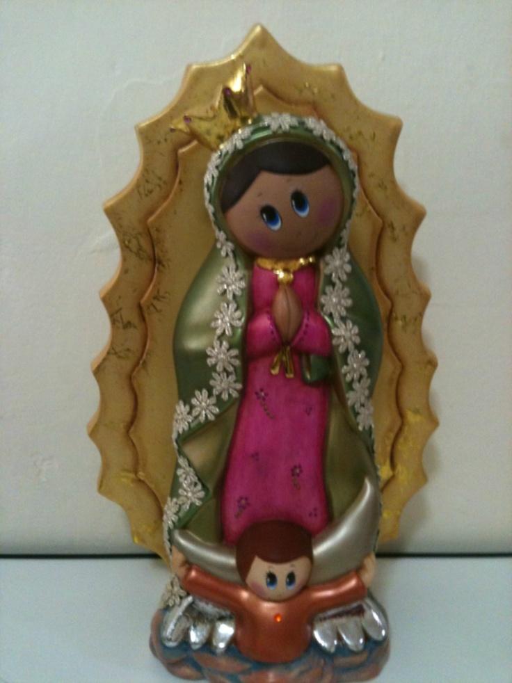Virgencita Pintada A Mano En Ceramica