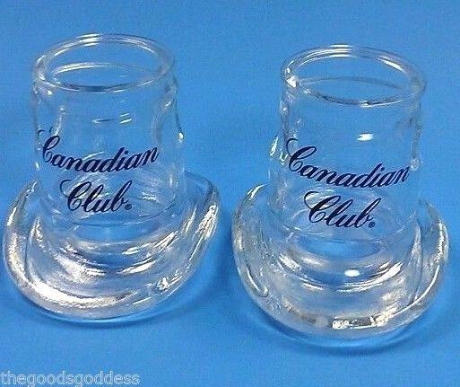 Canadian Club Cowboy Hat Shot glass Whiskey Bourbon Set of 2 1997 shots booze #CanadianClubWhiskeyBourbon
