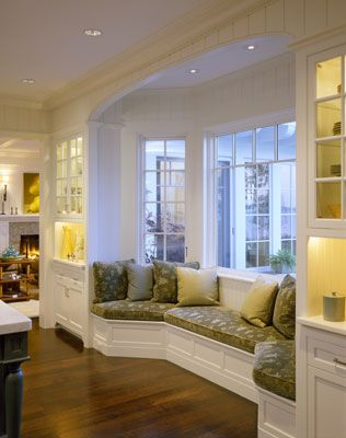 Love the window seats and the flanking built-insBays Windows Seats, Kitchens Windows, Dining Room, Windows Benches, The Bays, Living Room, Reading Nooks, Windows Shades, Window Seats