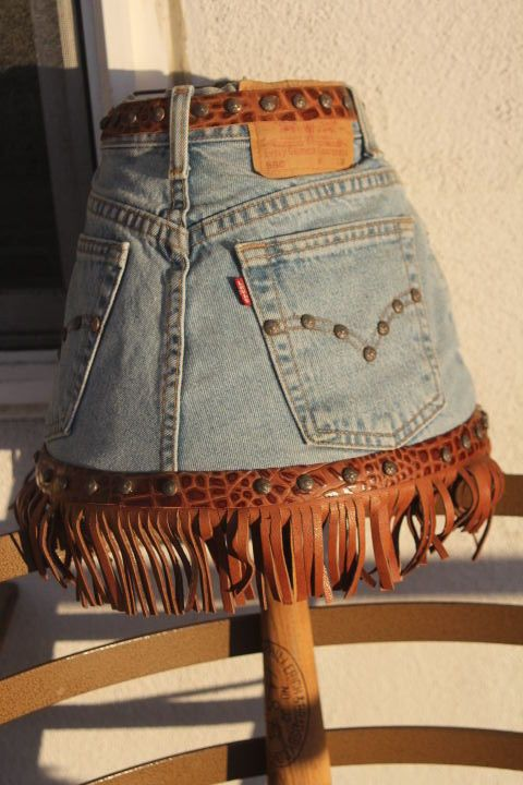 Vintage Lamp shade made from jeans