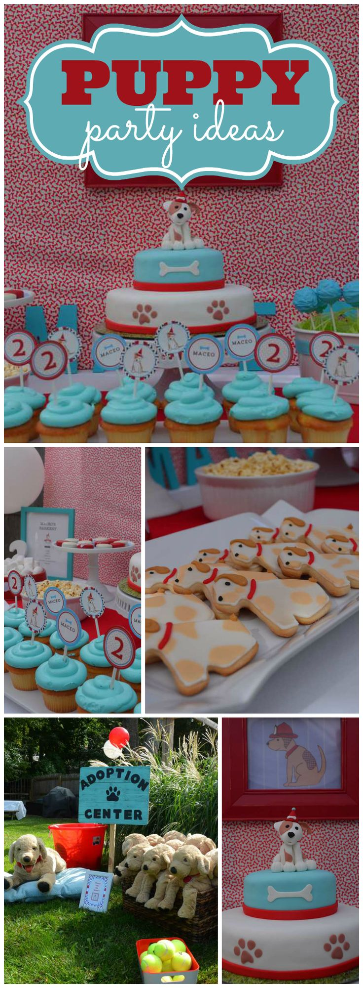 How sweet is this puppy birthday party?! See more party ideas at CatchMyParty.com!