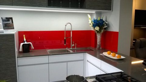 A recent project for a Kitchen and bathroom showroom. for a free quote on kitchen splashbacks visit www.csggroup.co.uk
