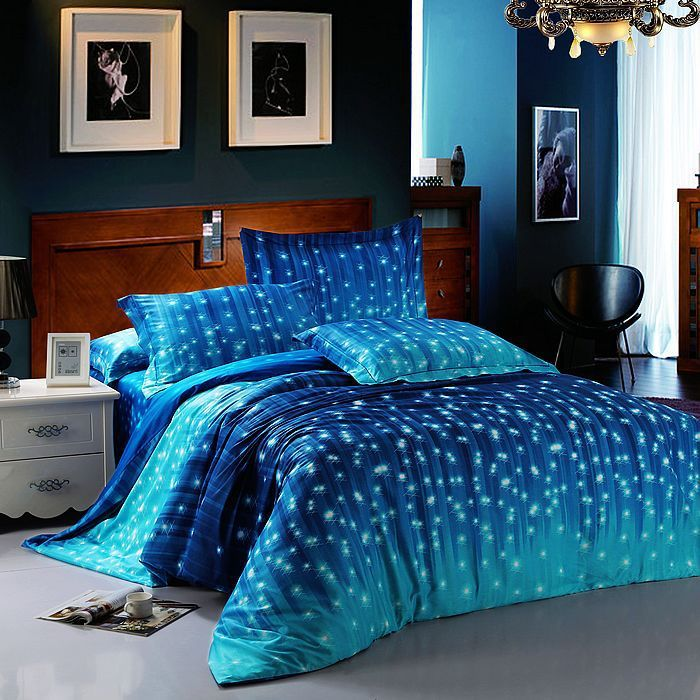 Bedroom Florence Blue Galaxy Bedding Set One Cotton Fitted