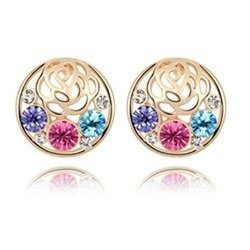 Gold-Plated Flower Multicolor Crystal Earrings Contempo Culture