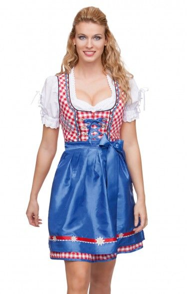 German mini dirndl 2pcs. - Uma - red 50cm
