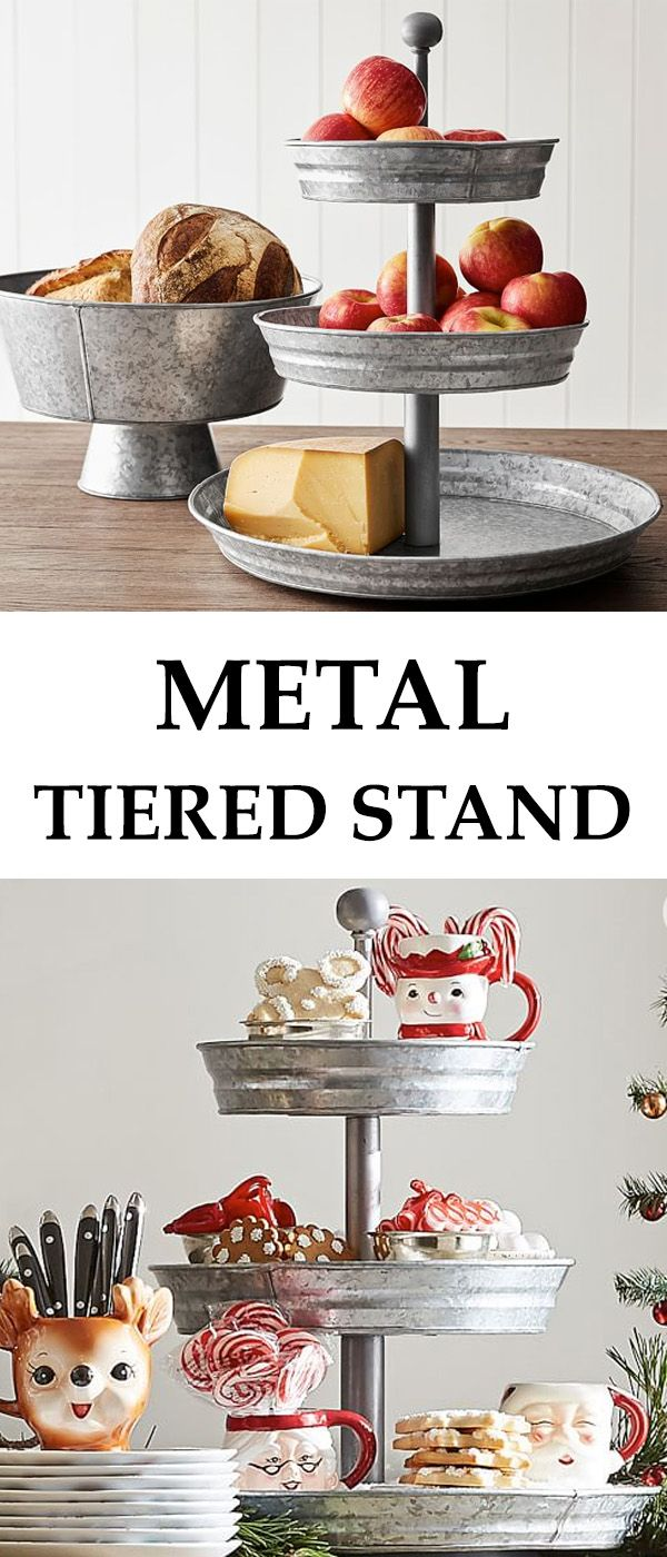 Recognized for its rustic character as much as its function, galvanized iron has visible crystallites on the surface that create a distinctive aesthetic appeal. Perfect for casual entertainment indoors or out, our tiered stand presents your favorite beverages, condiments and tabletop accessories with style. #Affiliate #homedecor #decoration #kitchen