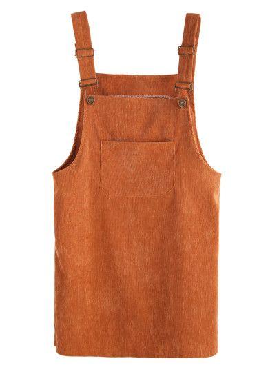 Khaki Corduroy Overall Dress With Pocket