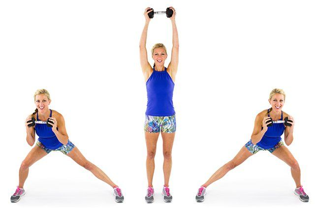 inner thighs; Side Lunge and Press: Add some resistance to your side lunges by holding a dumbbell at chest level. Sit the booty back and down to keep the knee behind the toes, then squeeze the glutes, quads and inner thighs to push yourself out of it. Keep alternating sides. You'll get a little stretch, too!