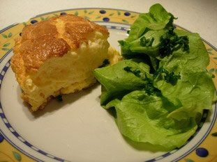 Soufflée omelette with cheese:   Halfway between an omelette and a soufflé, this quick recipe give a light and delicious result. The secret is mainly in the two cooking methods: frying pan, then oven.