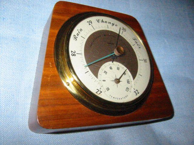 Swift Anderson Genuine Walnut Brass Barometer Made In