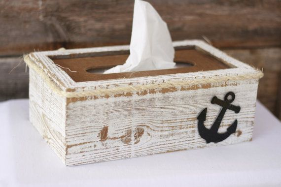 Anchor shabby chic kleenex tissue box. Made from upcycled wood! https://www.etsy.com/listing/196986558/tissue-box-cover-holder-rustic-shabby