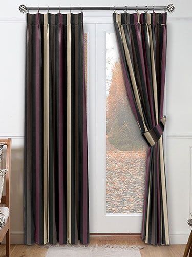 Silken Stripe Aubergine Curtains - darkly dramatic this fabric oozes glamour and sophistication. Wide black stripes with a sateen and matt finish predominate plus there's frosted bronze and aubergine stripes for wonderful interest. #curtains #stripes