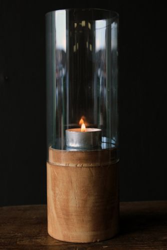 Wood Glass and Mirror Hurricane Candle Holder