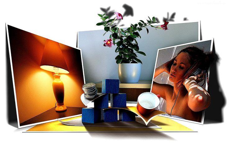 Tapeta, 4D, Zdjęcia, Lampka, Kwiat