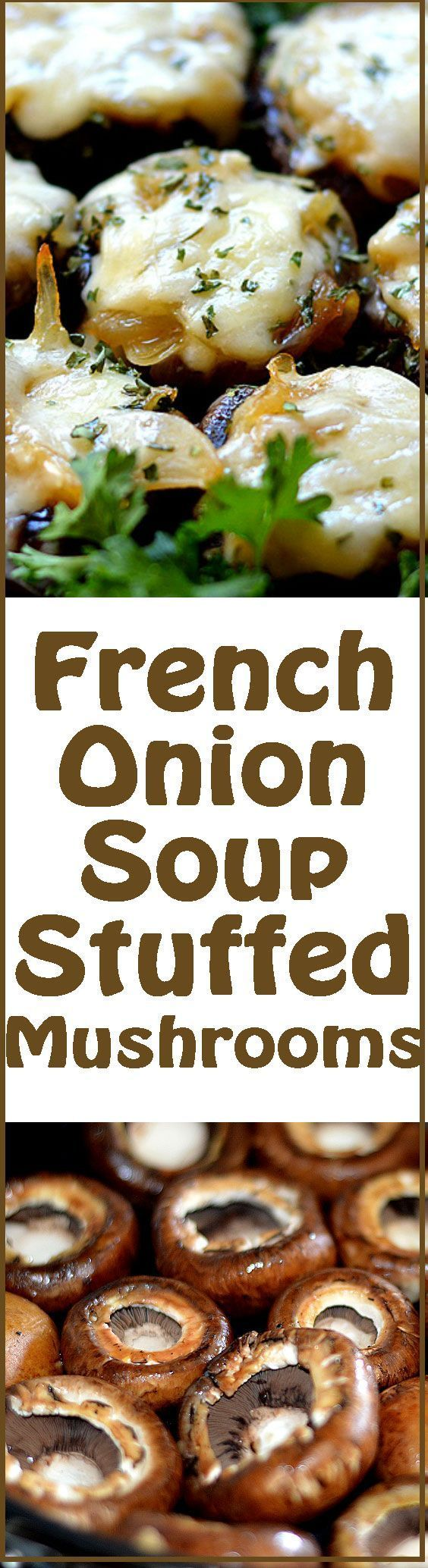 French Onion Soup Stuffed Mushrooms! YUM!!! Would be delicious, is simple to make and can be vegetarian or vegan !