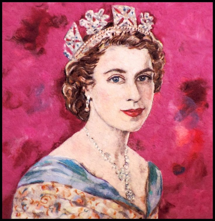 "Queen Elizabeth,  24"" x 24"" needle felted wool by Dale Roberts"