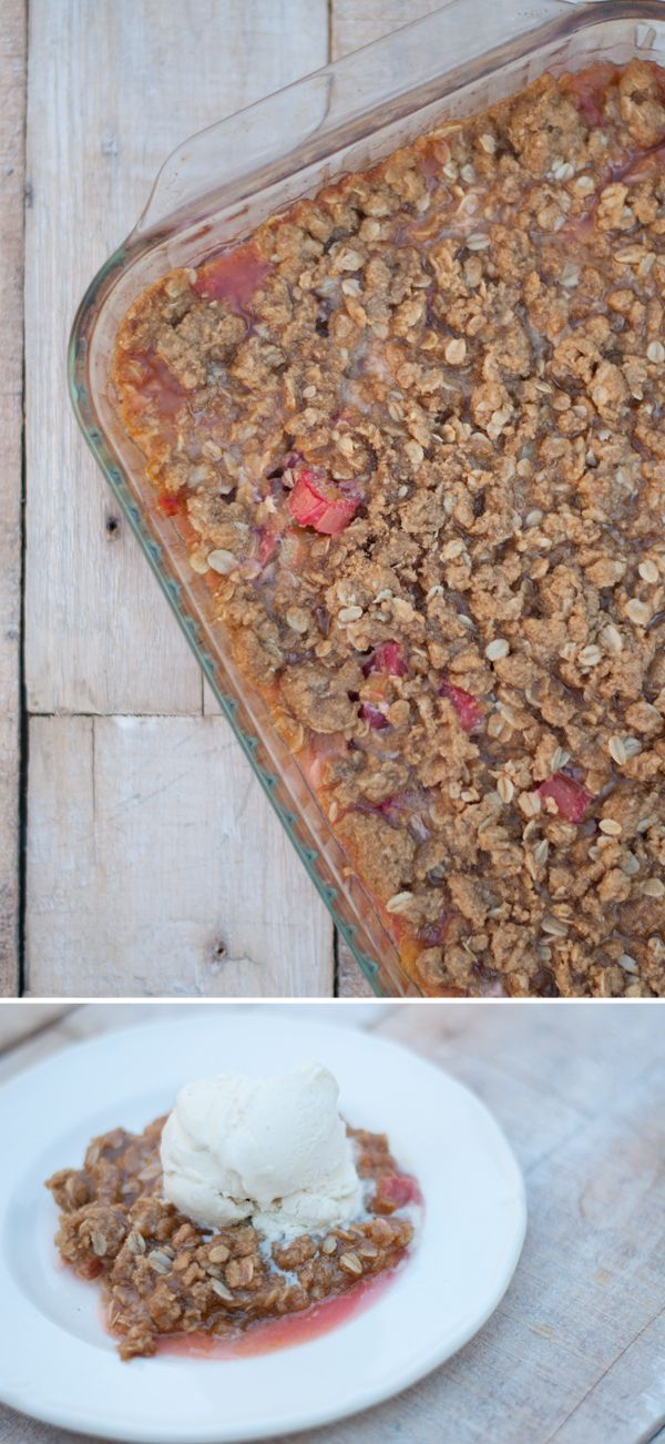 Rhubarb crisp or rhubarb raspberry crisp.  This is as close to my grandma's recipe as I've been able to find on Pinterest.  The only differences are that there is some cinnamon in each mixture, and 1/4 tsp each of baking powder and soda in the flour/oat mixture.  I sometimes sub half raspberries for rhubarb.  Perfect with a scoop of good vanilla ice cream.