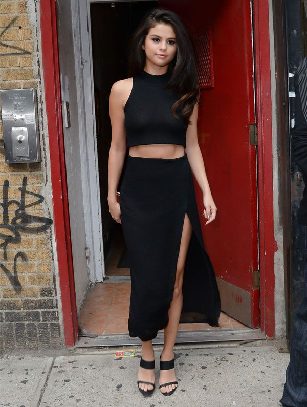 selena gomez look cropped skirt