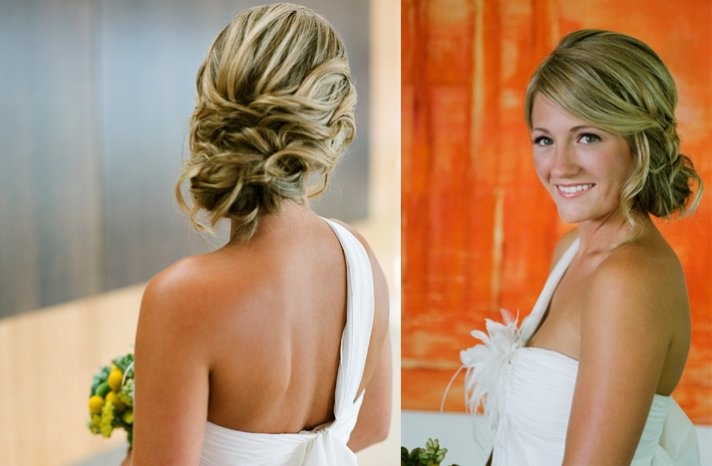 Side swept braided wedding hair