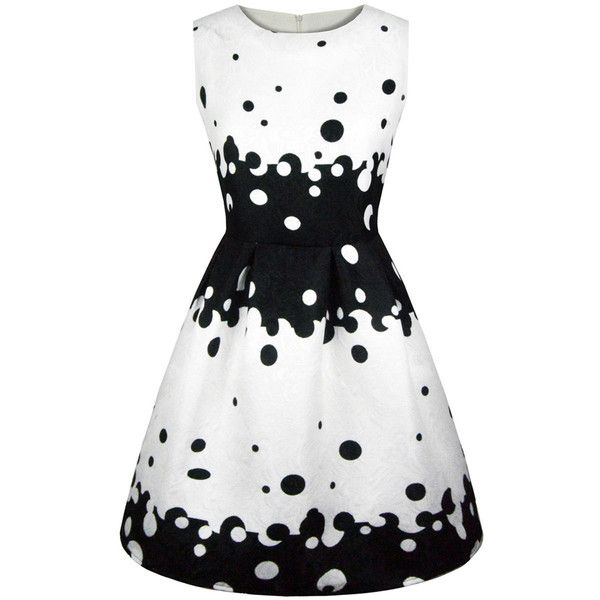 Black White Dot Printed Round Neck Skater Dress ($36) ❤ liked on Polyvore featuring dresses, short flare dress, day summer dresses, black and white short dresses, polka dot dresses and flare dresses