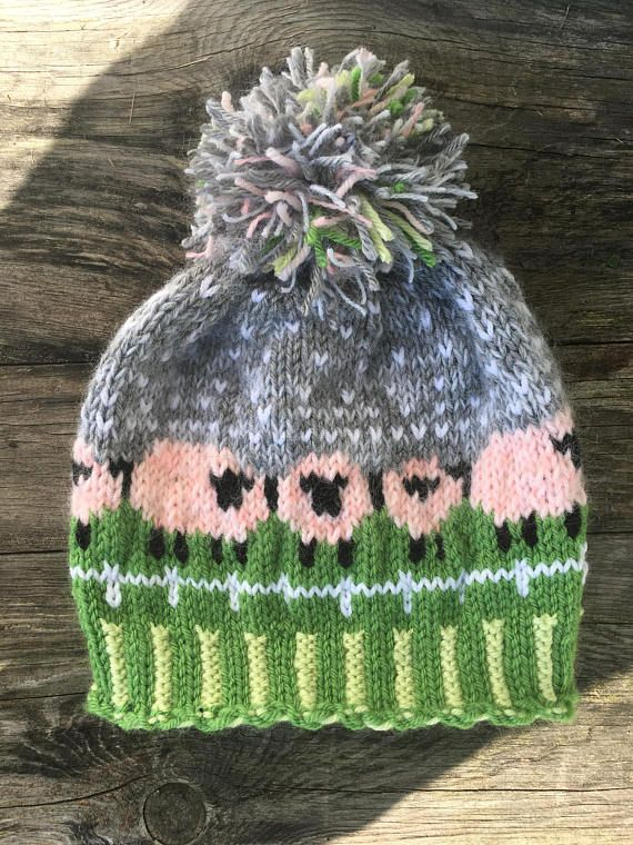 b07f23d6224 Baa-ble hat with fuzzy PINK SHEEP designed by Donna Smith Adorable handknit  Fair Isle