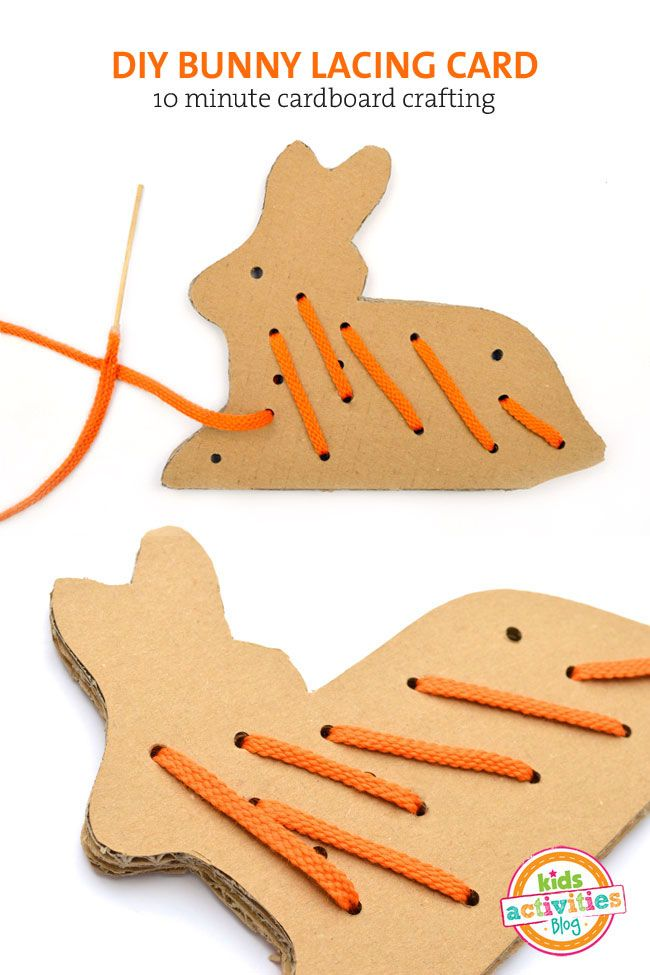 DIY cardboard bunny lacing card