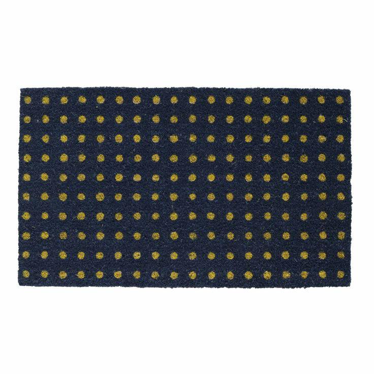 Dot Doormat Navy/Mustard