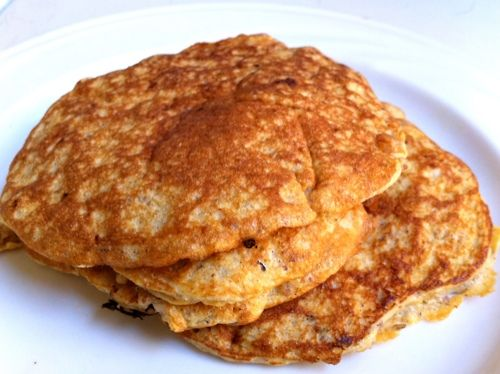 Low Carb, Low Fat, High Protein Pancakes...  No flour or added sugar!  I made a slightly different recipe:  1/2 banana, 2-3 egg whites, 2 tbsp vanilla protein powder, 1/2 tbsp chia seeds, cinnamon.  To make it even fancier, change up the flavor with poppyseeds & lemon, vanilla, or cocoa powder.  These seriously taste like cake.