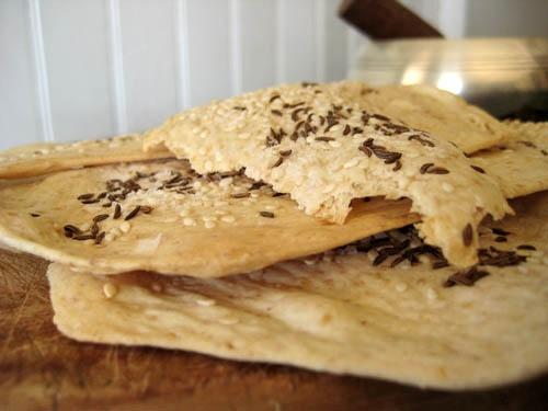 Caraway and sea salt crackers