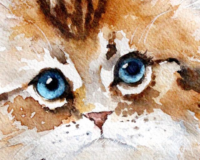 Watercolor Saturday - Kitten For more info: I share my creative projects here: https://www.instagram.com/peppermintpatty42/ and on my blog: http://peppermintpattys-papercraft.blogspot.se and on pinterest; https://www.pinterest.se/peppermint42/my-watercolors/