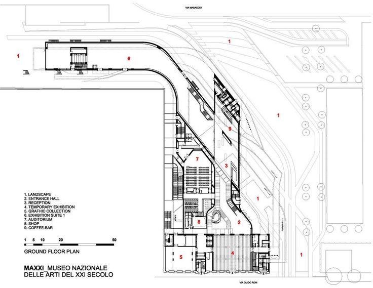 MAXXI museum Rome Zaha Hadid ground floor plan