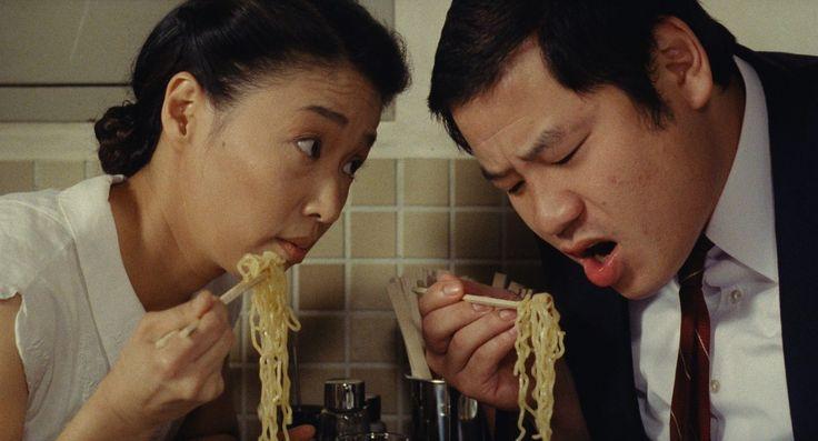 "Lindsay List | Six Signature Dishes from the World of Cinema | Nobuko Miyamoto as Tampopo and Kinzo Sakura as Shôhei in Juzo Itami's ""Tampopo,"" (1985)"